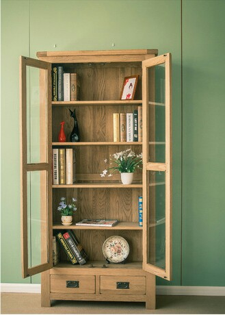 Bookcases Living Room Furniture Home Furniture white oak solid wood  bookcase bookshelf with glass door drawer