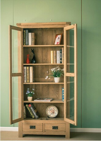 Attractive Bookcases Living Room Furniture Home Furniture White Oak Solid Wood  Bookcase Bookshelf With Glass Door Drawer