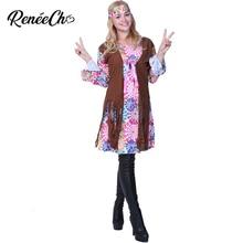 2018 Donne Hippie Costume di Carnevale Per Adulti Del Partito di 1960 s  Retro di Pace E e351b5be11a