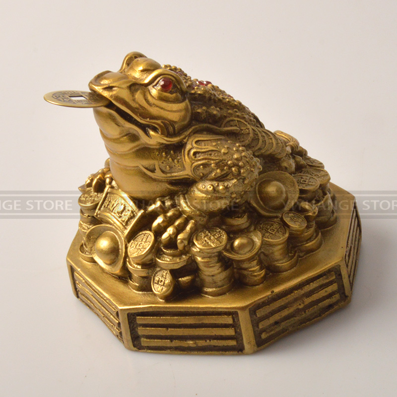 Chinese Antiques Feng Shui Decor Chinese Lucky Charm Money Elephant Figurine Gold Copper