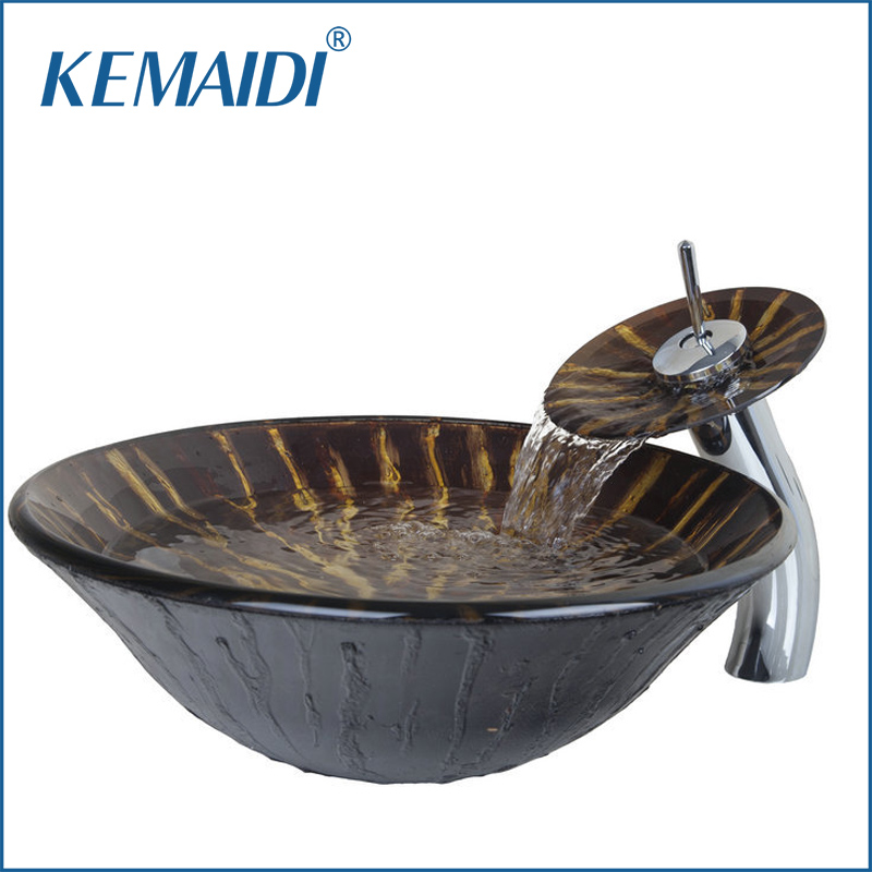 Delightful KEMAIDI Round Bathroom Sink Set Brown Tempered Glass Bathroom Sink And  Chrome Finish Bathroom Faucet VD4224 Part 30