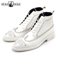 Brogue Wing Tip Mens White Ankle Boots Handmade Genuine Leather High Top Motorcyle Martin Boots Male Pointed Toes Derby Shoes