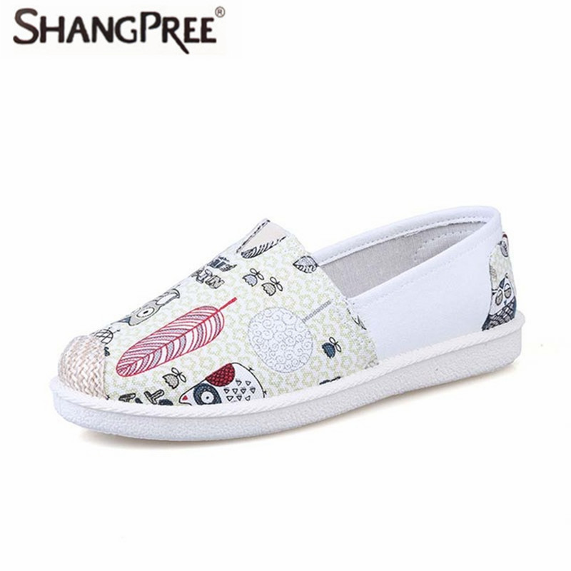 5 Colour 2017 New Women Casual Flat Shoes Women Loafers Comfortable Round Toe Cute owl prints Shallow Mouth Single Shoes e hot sale wholesale 2015 new women fashion leopard flat shallow mouth shoes lady round toe shoes