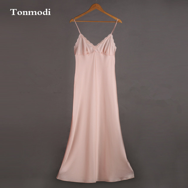Female autumn and winter long nightgown lotus pink lace sleepwear lengthen silk nightgown spaghetti strap sexy sweet