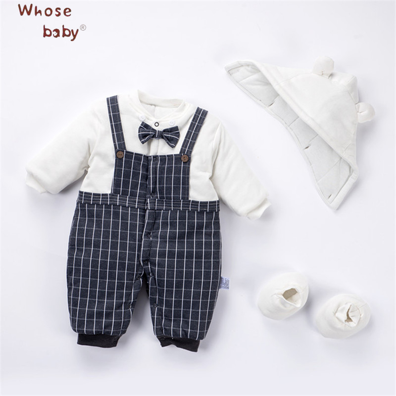 Hat+Body+Shoes Fall Winter Thick Cotton Baby Rompers Warm Full Sleeve Romper For Baby Girls Newborn Infant Out Wear Clothes W904