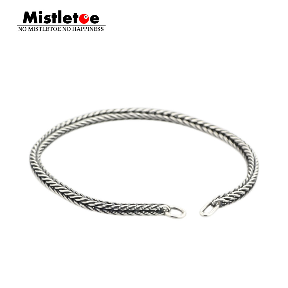 Authentic 925 Sterling Silver Bracelet Women Fox Tail Bracelet Or Necklace Chain Fit Eurpeon  Jewelry