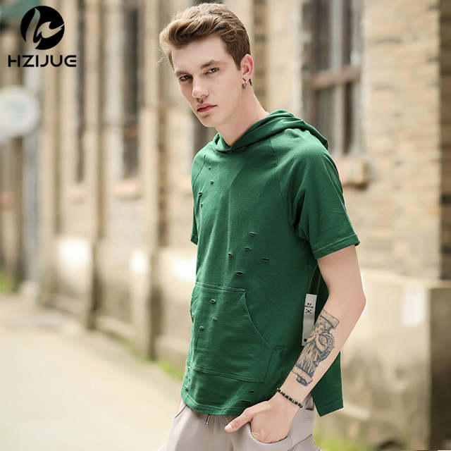 0bab3d25f2ef placeholder HZIJUE Men Tshirt Summer 2018 Men Ripped Hole Loose Casual Tops  Fashion Summer T-shirt