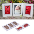 2017 Newly 3Pcs/Set Cute Baby Photo frame DIY Handprint or Footprint Soft Clay Safe Inkpad Non-Toxic easy to Use Best Baby Gift