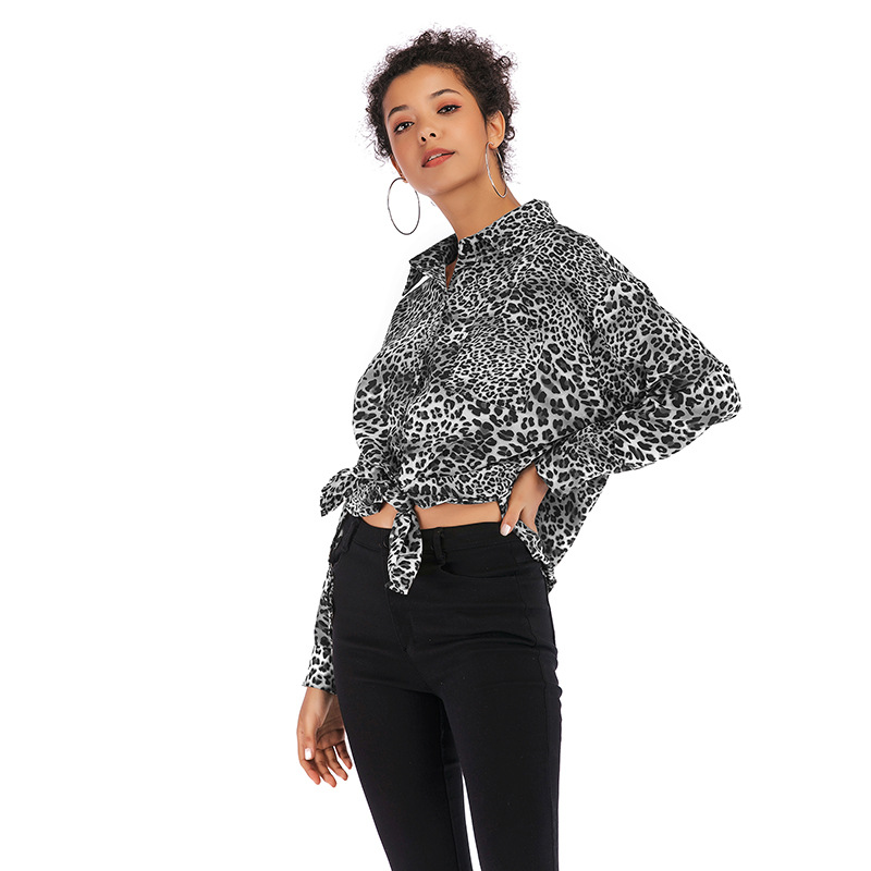 Camisa Más Y 2019 Mujer Tamaño caqui Otoño Retro Manga Chiffon Primavera Suelto breasted Leopardo Larga De Negro Nuevo Superior vcpqxwprXZ