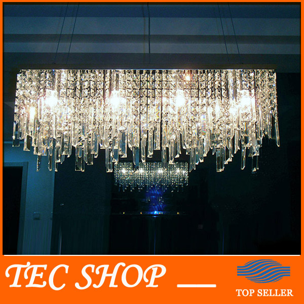 JH New Modern Rectangular Crystal Chandeliers K9 Crystal Ceiling Lamp Lighting Fixture Restaurant LED Lighting E14 Free Shipping  kzj 108p k9 rectangular prism