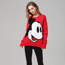 ATKUULQZ Korean version 2019 new net red loose ins Super fire cartoon pattern Mickey head round collar Harajuku winter sweater