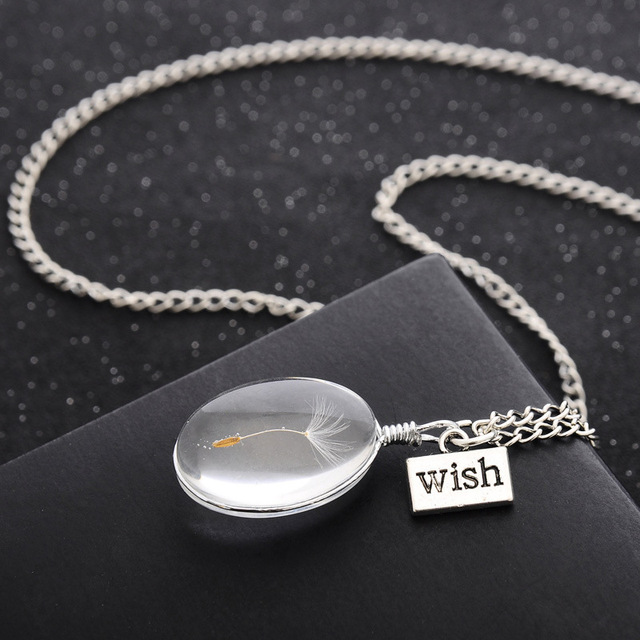 Natural Dandelion Seed Specimen Glass Adhesive Sheet and Wish Tag Pendant Necklace Charm Women Oval Time Gem Necklace 2
