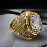 18K Gold Plated With Big Oval Cut Egg Shaped Crystal Wedding Rings For Women Cubic Zirconia