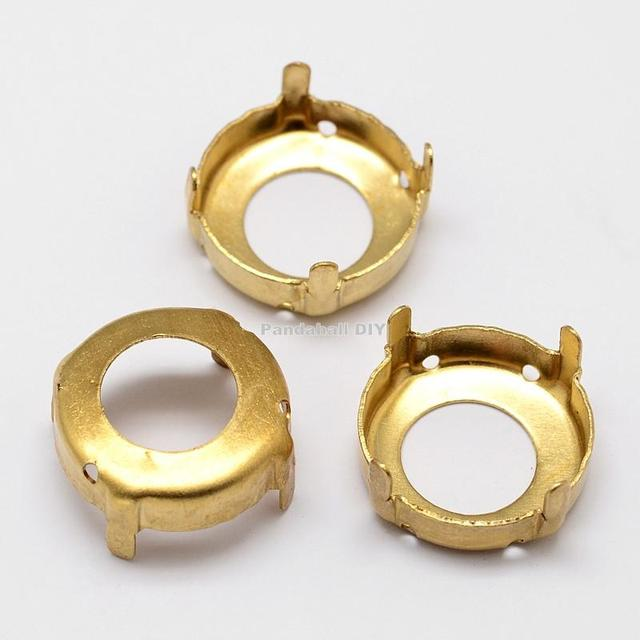 Flat Round Brass Rhinestone Claw Settings, Within the Error Range of 1mm, Golden, 12x0.4mm; Fit for 12mm cabochons; about