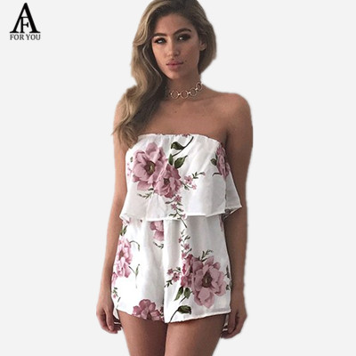 f69a4d6edd3 2017 Off shoulder flower print ruffle jumpsuit women romper Sexy tube high  waist shorts playsuits summer beach playsuit Boho