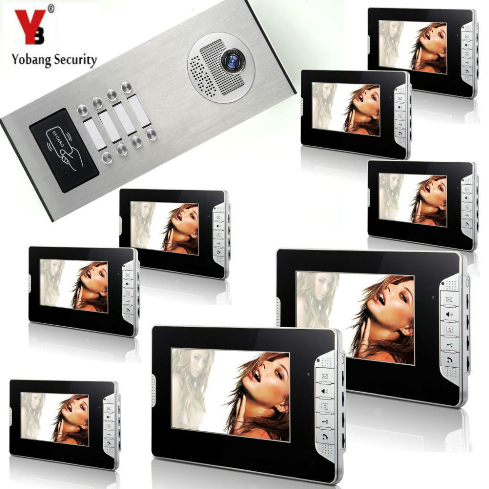 YobangSecurity 8 Units Apartment 7Inch Wired Video Door Phone Doorbell Intercom Entry System With RFID Access Door IR Camera yobangsecurity wired video door phone 7 inch lcd video doorbell door chime home intercom system kit with rfid access ir camera