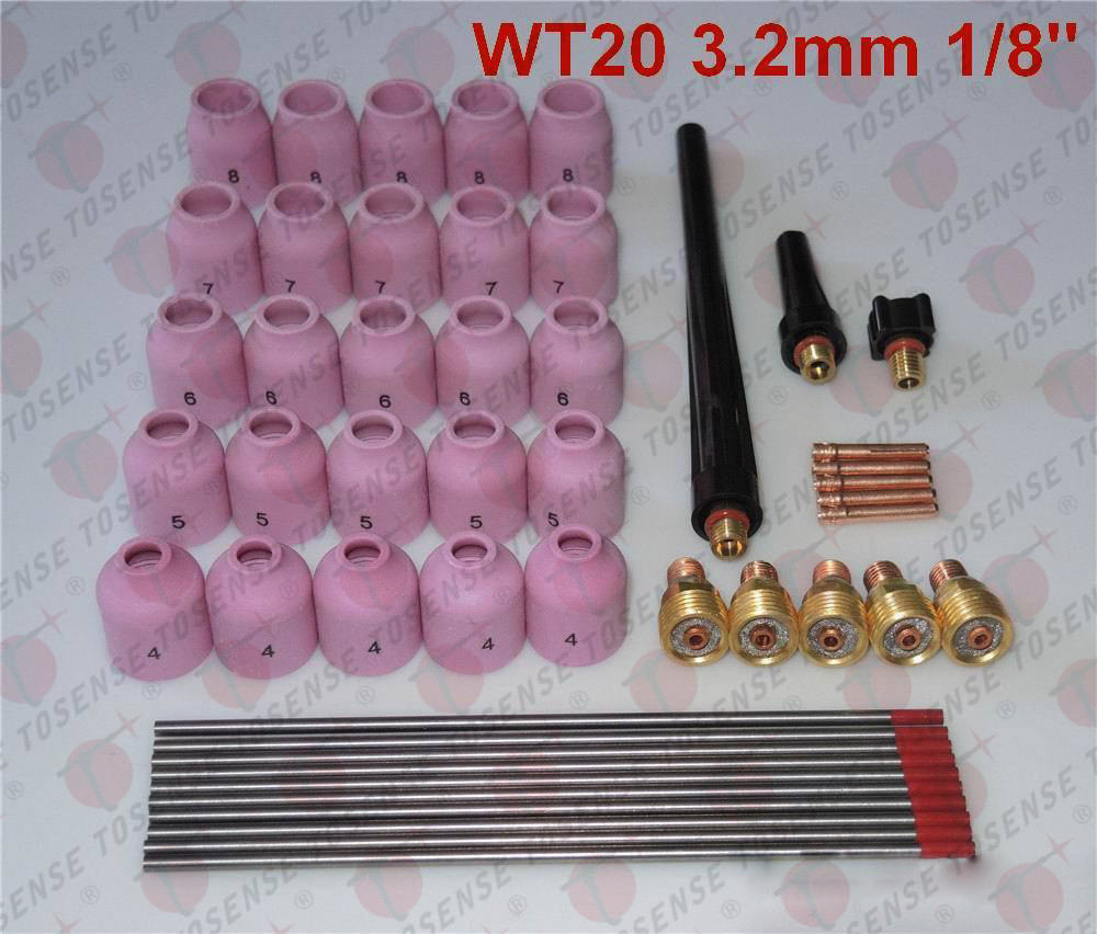 48 pcs TIG Welding Kit Gas Lens for Tig Welding Torch WP-9 WP-20 WP-25 WT 1/8 ирригатор waterpik wp 462e2