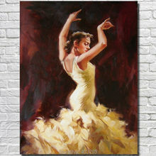 Handpainted Flamenco Spanish Woman Heat Dancing Dancer Oil Painting On Canvas Paintings No Framed - Intl