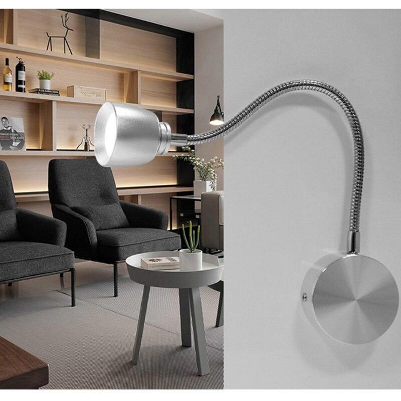 LED Wall Lamps With Knob Switch 5W AC90-260V Silver Black Bedroom Bedside Reading Light Direction Adjustable Indoor Lighting цена 2017