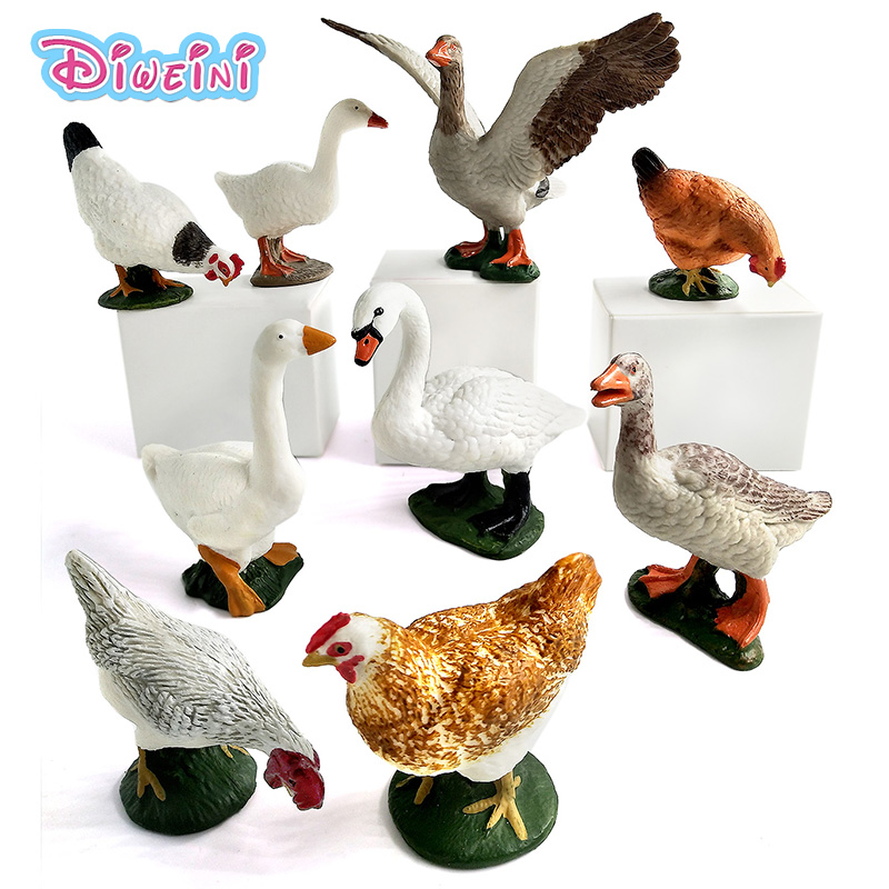 ZOO Simulation Swan Chicken Hens Duck Goose Geese Farm Animal Models Figurines Toys Plastic Gift For Kids Home Decoration Decor