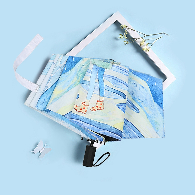 Artistic and refreshing umbrella folding sunny rain dual purpose sun to prevent ultraviolet rays Korean black rubber