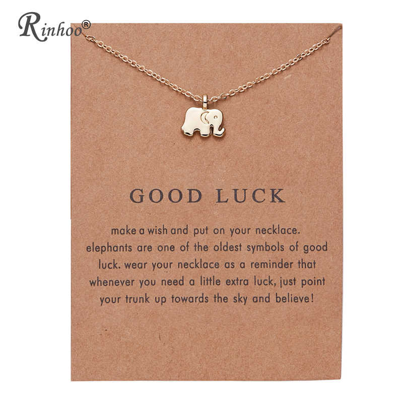 RINHOO Animal Elephant Flower Gold Color Pendant Necklaces Clavicle Chains necklace Fashion Chain Necklace Women Vintage Jewelry
