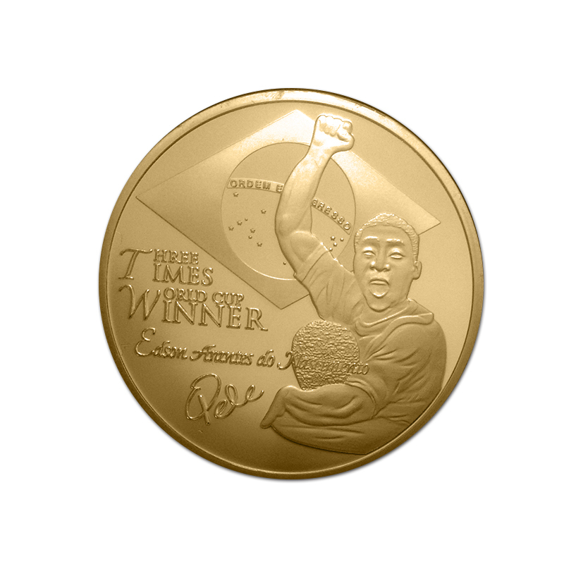 1pcs The King of football Pele <font><b>World</b></font> <font><b>Cup</b></font> <font><b>Winner</b></font> in 1958/1962/1970 commemorative gold plated coins Free Shipping