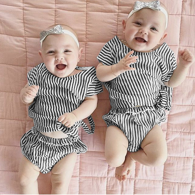 2017 New Summer Kids Baby Girls Elegnant Clothing Set Stripe Baby Girl Clothes Short Sleeve Top T-shirts Diaper Pp Harem Pants