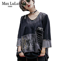 Max LuLu 2018 Spring Korean Designer Girls Jeans Clothing Womens V Neck T Shirts Harajuku Ladies