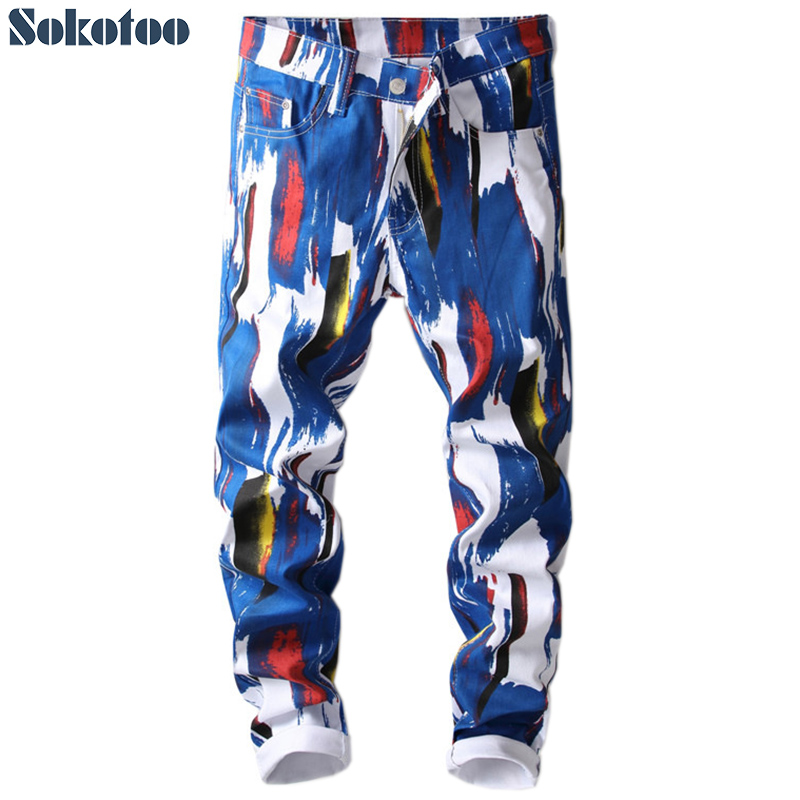Sokotoo Men's Fashion 3D Pattern Slim Skinny Printed Jeans Blue White Stretch Denim Pants