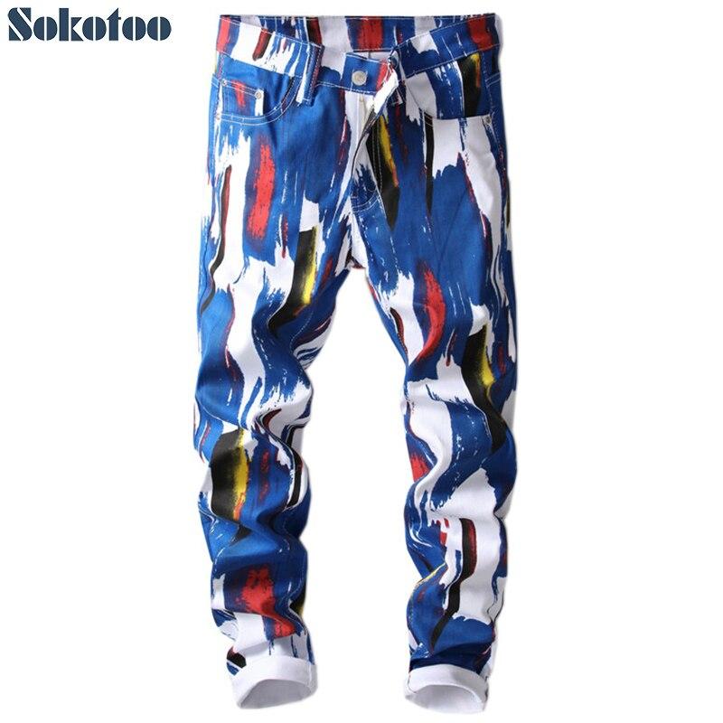 Sokotoo Men's Fashion 3D Pattern Slim Skinny Printed Jeans Blue White Stretch Denim Pants