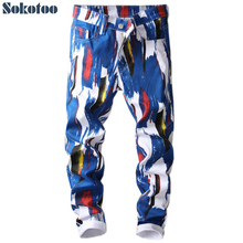 Printed Jeans Denim Pants Sokotoo Stretch Skinny Fashion 3d-Pattern Slim White Men's