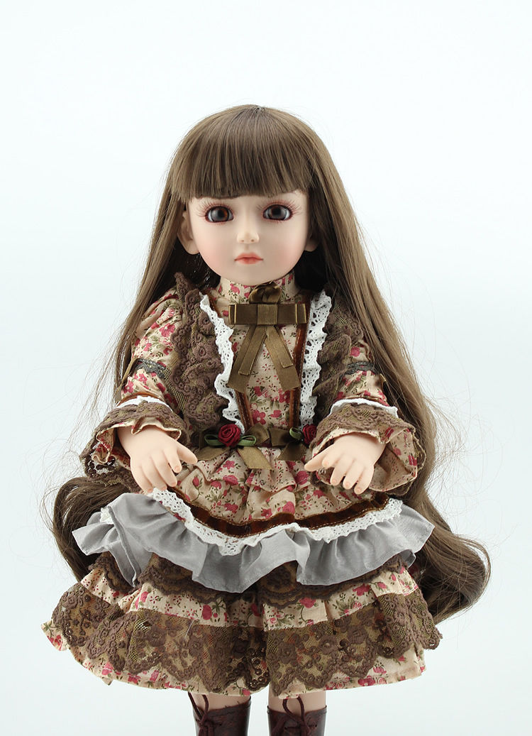 45CM Soft Silicone Reborn Baby Girl Doll Full Vinyl Real Reborn Dolls Clothes Long Hair BJD Dolls Beconas Gifts Free Shipping full set top quality 60 cm pvc doll 1 3 girl bjd wig clothes shoes all included night lolita reborn baby doll wedding price shas