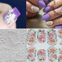 1 шт., модная 3D акриловая Выгравированная наклейка с цветком для ногтей, тисненый цветок, наклейки для ногтей, эмаистическая наклейка для водяного переноса изображения на ноготь