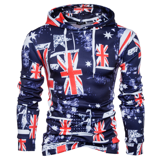 Mens Hoodies UK Flag Printed Hoodie Tops Fashion Autumn HipHop Pullover  Casual Long Sleeve Cotton Hoodie