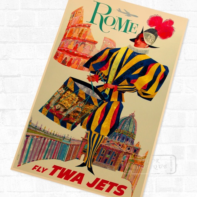 Pop Art Europe Fly to Roma Italy Vintage Retro Travel Kraft Poster ...