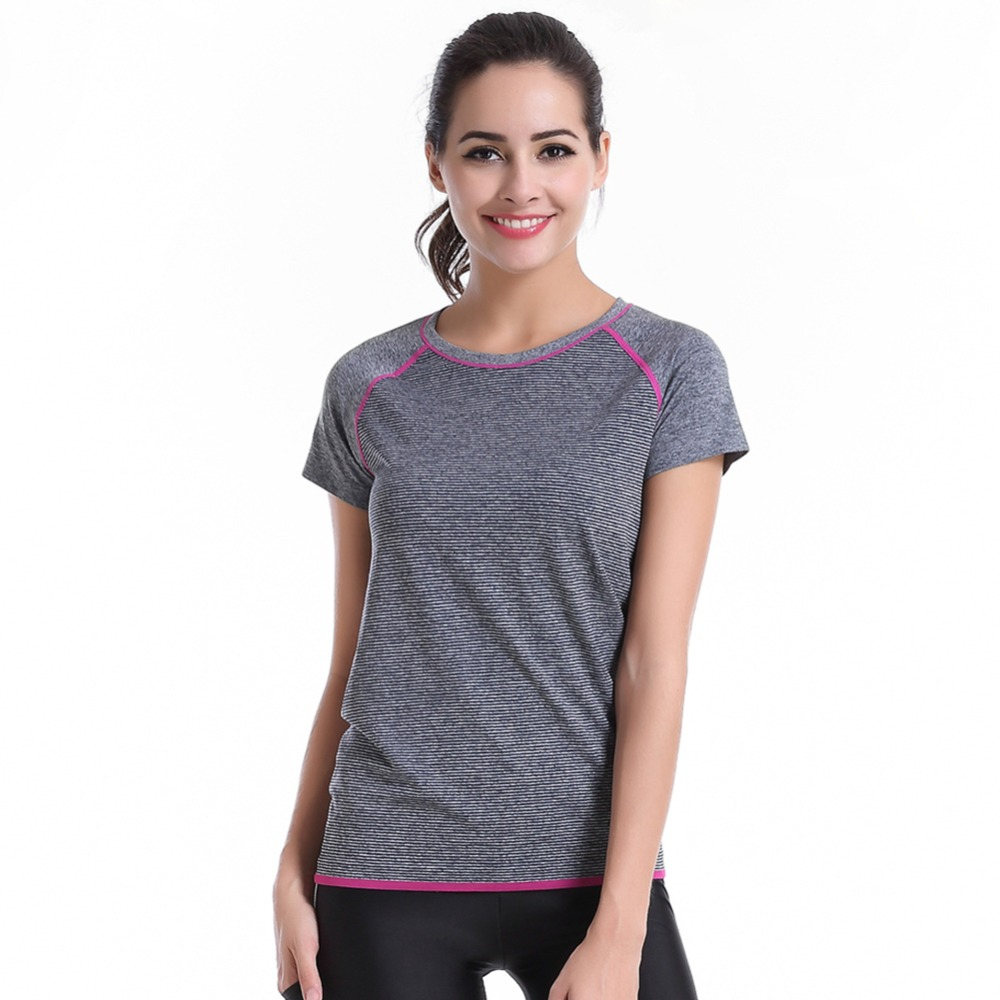 Spring Women Lady Sports Fitness Running Soft Short Sleeves Tops