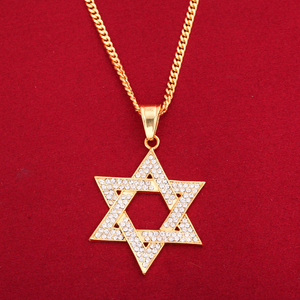 Star Of David Pendant Necklace Women Men Chain Gift Gold Color Hexagram Pendant Necklace
