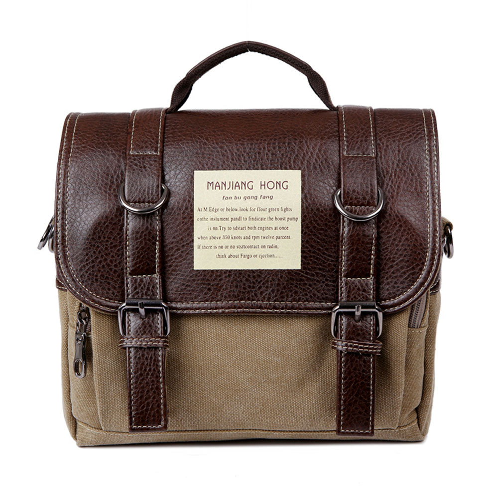 ФОТО Fashion Multifunction Casual Leather + Canvas Men Shoulder Bags Travel Canvas Mens College Students Crossbody Messenger Bags