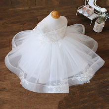Платье для маленьких девочек, наряд на первый день рождения, летняя одежда для крещения новорожденных принцесс с большим бантом, вечерние п...