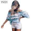 YNZZU New women Off Shoulder slash neck ruffles women tops tees tube tops Stitching Floral blouses shirt female sweetness YT036