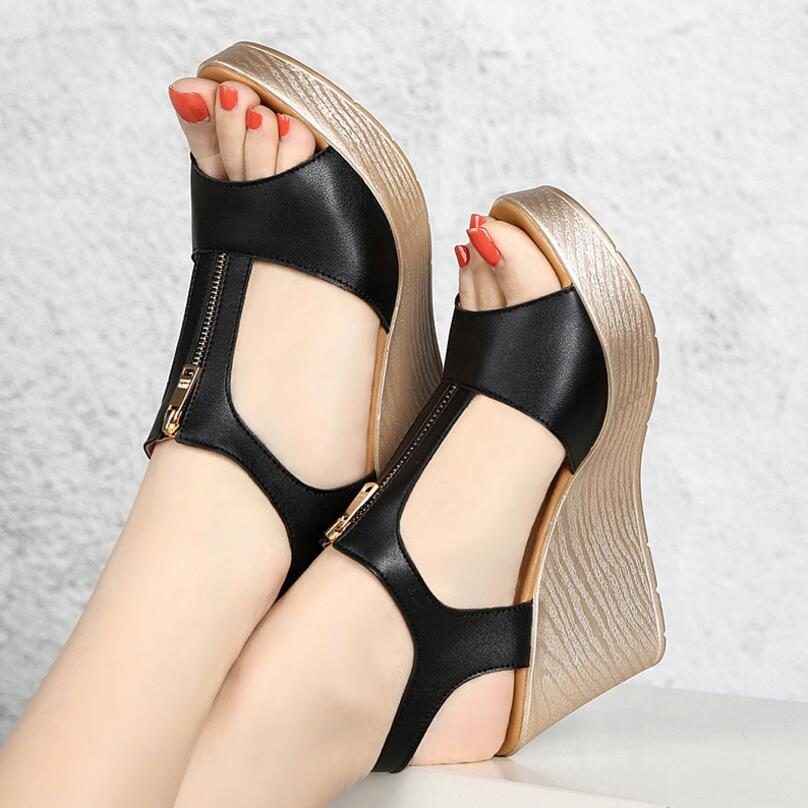 D&Henlu 2018 Wedges Sandals Woman Shoes Flat Platform Sandals Summer Women Plus Size Shoes Women Sandal With Heels Peep Toe Zip woman sandals shoes 2018 summer style wedges flat sandals women fashion slippers rome platform genuine leather plus size