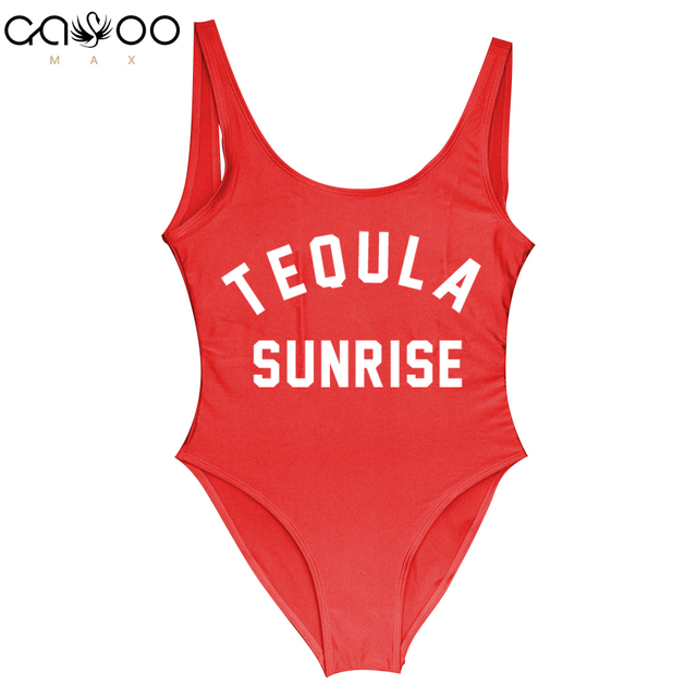 e01b13a053 TEQUILA SUNRISE Funny Letters Women Swim suit Sexy 2018 Girls' High Cut  Swimwear Bathing Beachwear Swimsuits One Piece Bodysuit