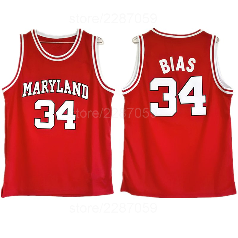 ae8c4d89e Ediwallen Vintage College 34 Len Bias Jersey Men 1985 Maryland Terps  University Jerseys Basketball Uniforms Sport