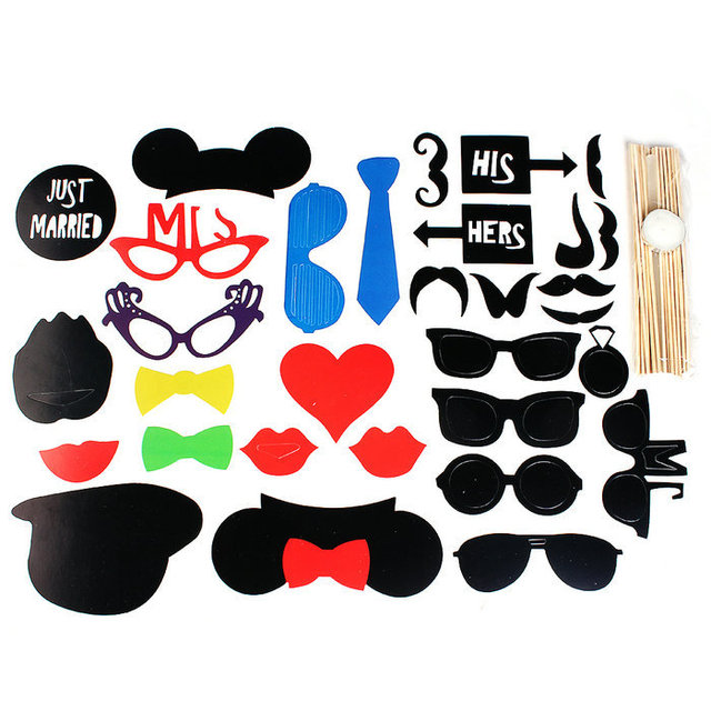 31pcs New Diy Wedding Party Props Masks Photo Booth Props Mustache