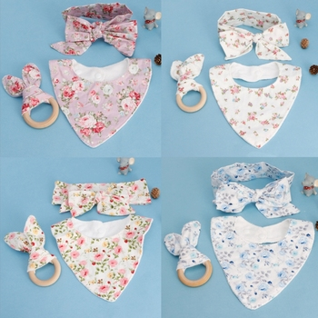 KLV 3Pcs Baby Rabbit Ears Teether Cotton Bibs Headband Infant Saliva Towel Care Set Baby Nursing Gifts