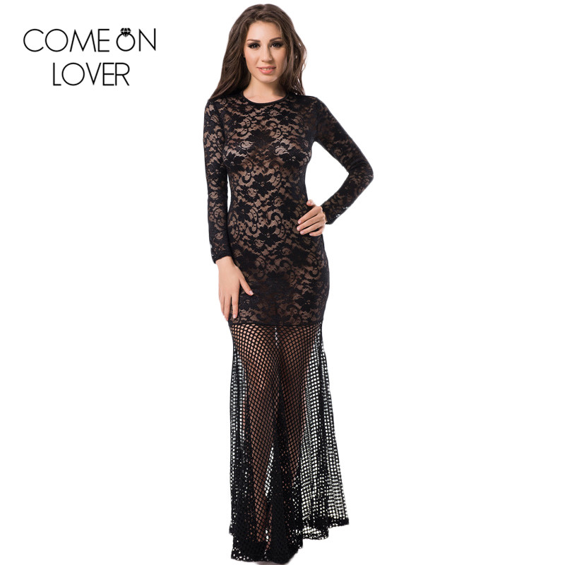 RE80022 Comeonlover Special design lace long sleeve dress hot see through fishnet maxi dress popular back zipper sexy lace dress