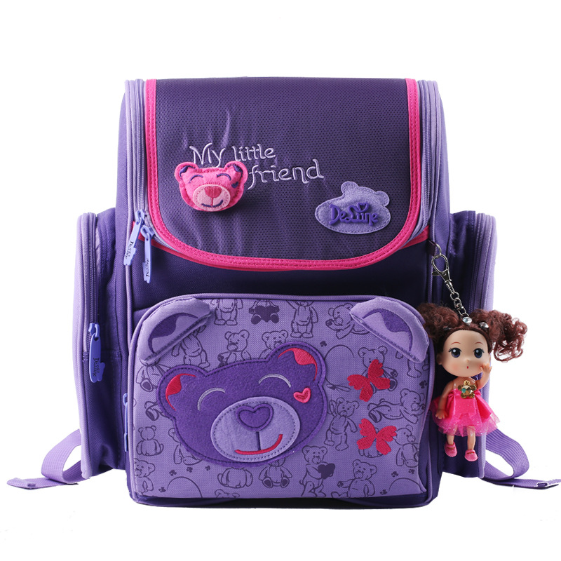 Delune Brand Butterfly Bear Children School Bags Kids Backpack Casual Bags Backpacks For Teenage Gilrs Boys Orthopedic Schoolbag delune cute bear children school bags for girls orthopedic school backpacks with doll pendant primary bookbag mochila escolar