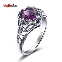 Szjinao High Qualiaty 2017 Famale Silver Ring 100 Solid Silver 925 Jewelry Round Amethyst Wedding Invitations