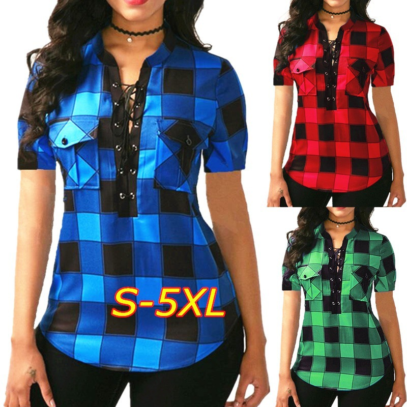 Women Plaid   Shirts   2018 Summer Short Sleeve   Blouses     Shirt   Office Lady Cotton Lace Up Tunic Casual Tops Plus Size Blusas 5XL